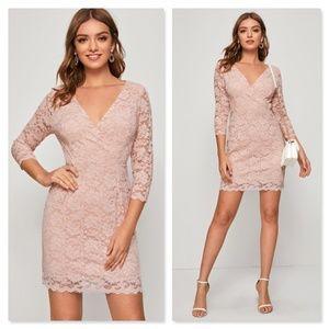 V-Neck Pastel Pink Lace Formal Mini Dress